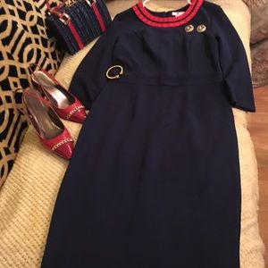 Boden Navy Blue dress Red trim Megan Markle look